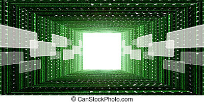 green matrix tunnel with touch screen interface and light at...
