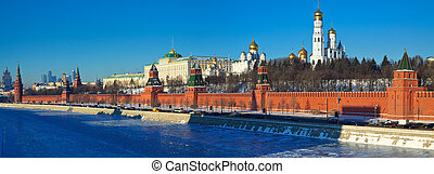 Panorama of Moscow Kremlin in winter day Russia