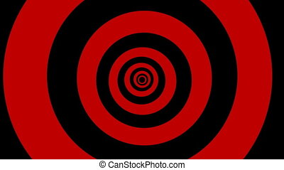 Black and red rings slowly and rhythmic rotate and rock