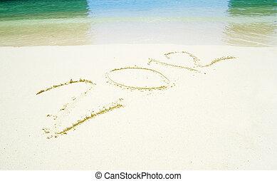 2012 on beach sand