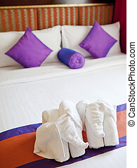 Honeymoon Bed Suite decorated with elephant towels