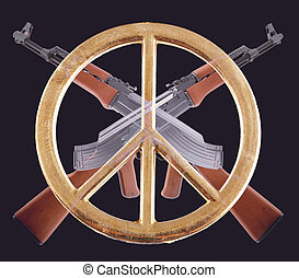 AK-47 - Two crossed AK-47 with a peace sign on black...