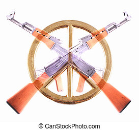 AK-47 - Two crossed AK-47 with a peace sign