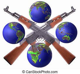 AK-47 - Two crossed AK-47 with globes