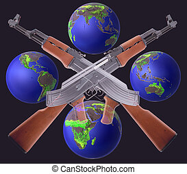 AK-47 - Two crossed AK-47 with globes on black background