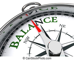 balance compass conceptual image - balance towards north...
