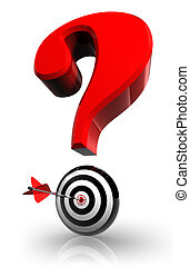 red questionmark and concept target with arrow on white...