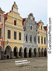 Telc - Renaissance houses in the main square of Telc, Czech...