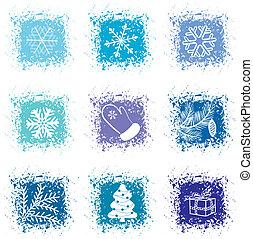 Set christmas icons - vector set christmas blue icons