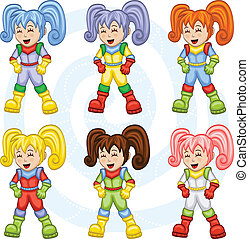 Cartoon astronauts - The collection of six cute...
