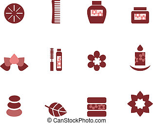 Spa and wellness icons set isolated on white brown - Zen and...