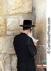 Rabbi at Western Wall, Jerusalem - Rabbi at Western Wall,...