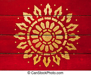 The Painting golden symbol of religion on wood in the  temple