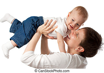 Young mother playing with her child