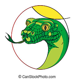 snake sign - snake head, chinese zodiac sign isolated on...
