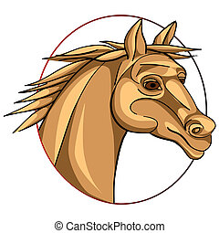 horse sign - horse head in a circle, chinese zodiac sign...
