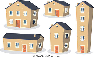 Cartoon House Set - Illustration of a collection of cartoon...