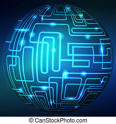 abstract technology sphere background. Colorful vector...