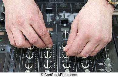 hands disc jockey - hands near the disc jockey music...