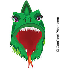 Head of the fairy-tale dragon on white background