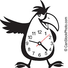 wall clock parrot sticker. Vector illustration - Cute wall...