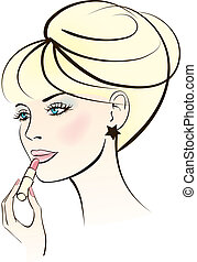 beauty woman with lipstick. Colorful vector illustration