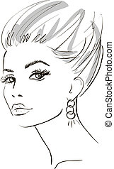 girl face. design elements. Vector Illustration - beauty...