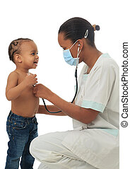 Black African American nurse with child isolated metisse...