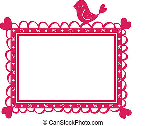 cute  banner frame with bird