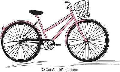 Klasyk, damski, zakupy, Rower, szykowny, Ilustracja