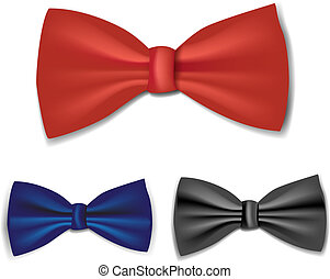 bow-tie set colorful vector illustration. Collection art.