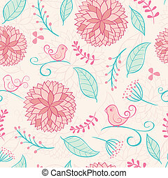 Floral summer background with birds