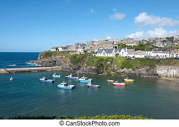 Port Isaac in Cornwall - view of the small harbor of Port...