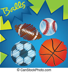 drawing of sports balls over colorfull abstract background