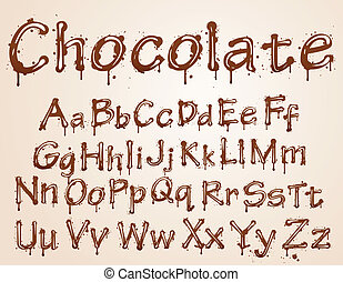 dark chocolate alphabet on a white background. Vector...