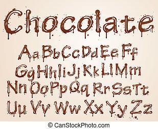 dark chocolate alphabet on a white background. Vector...