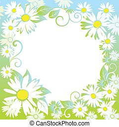 funny spring floral border. Colorful vector illustration