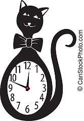 Cute wall clock cat sticker. Vector illustration