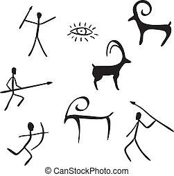 primitif, figures, regarde, aimer, caverne, peinture