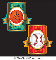 baseball and basketball labels