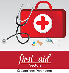 first aid kit over withe bakcground, vector illustration