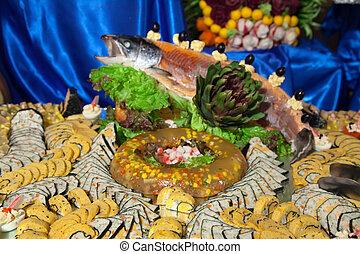 Decorated fish on banquet table
