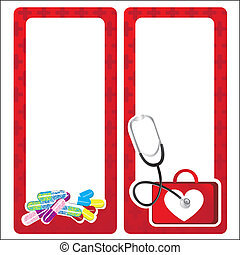 medical cards decorate with medicine elements