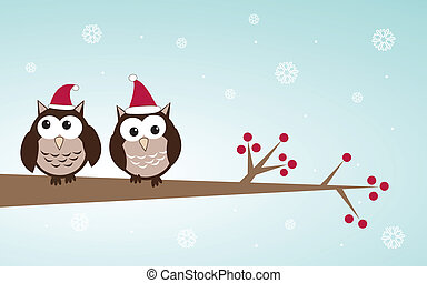 Owls couple in christmas hats on the tree branch. Holiday...