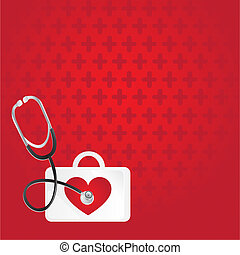 first aid, heartbeat, background over red pattern
