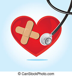 heartbeat, stethoscope over blue background vector...