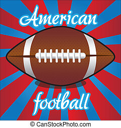 american futball ball on color lines, vector illustration