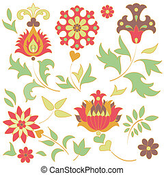 Set of retro flower elements. EPS 8 vector illustration.
