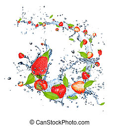 Fresh strawberries falling in water splash, isolated on...