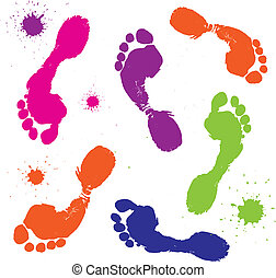 Foot print isolated on white. Vector illustration.